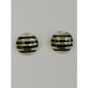 Mexico .925 Sterling & Malachite Striped Earrings